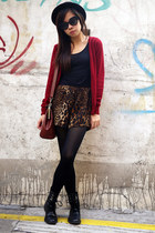 ruby red Zara cardigan - black H&M hat - crimson bag
