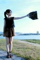 black Gucci bag - tawny romper - brown H&M blouse