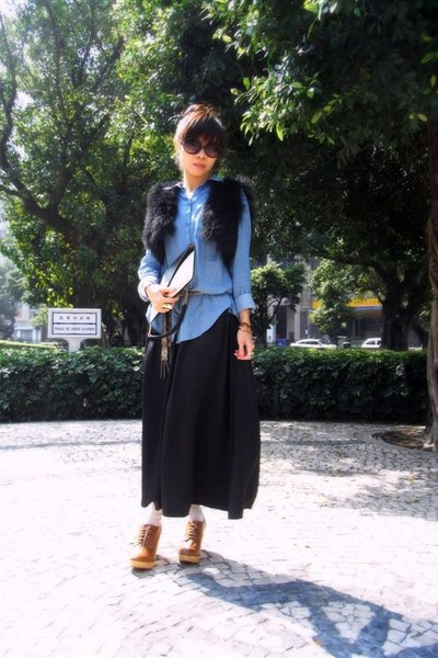 H&M shirt - Celine bag - Topshop sunglasses - used as belt roberto cavalli tie -
