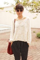 Miu Miu bag - H&M sunglasses - American Apparel blouse - Zara pants - H&M neckla