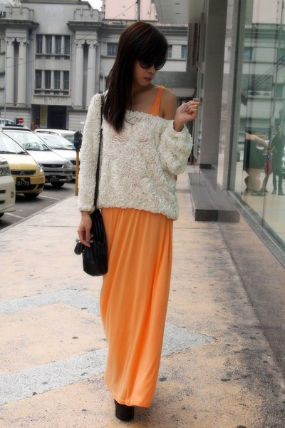 white American Apparel blouse - black Jeffrey Campbell shoes - orange H&M dress