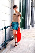 red H&M bag - turquoise blue Bershka skirt - camel H&M top - black Zara sandals