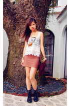 burnt orange H&M skirt - black H&M boots - cream vest