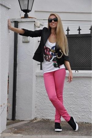 pink Cheap Monday jeans - Patrizia Pepe blazer - Converse sneakers - Pepe Jeans