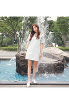 denim Forever21 dress - onitsuka tiger sneakers
