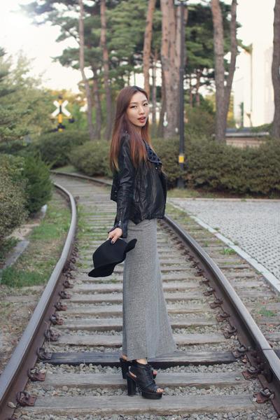 black leather jacket Forever 21 jacket - gray maxi dress FashionToAny dress