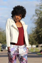 neutral H and M jacket - crimson H and M pants