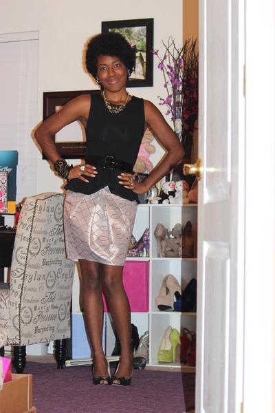 shiny asos skirt - peplum Topshop top
