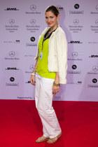 lime green H&M top - ivory Mango blazer