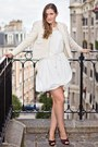 White-h-m-dress-white-mango-jacket-dark-brown-christian-louboutin-heels