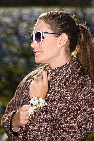 camel H&M ring - white firmoo sunglasses - white DKNY watch - brown DIY cape