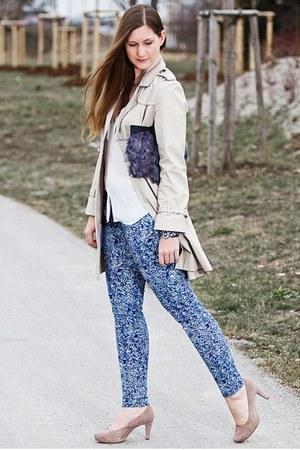 blue H&M jeans - beige Primark coat - gray asos bag - beige unisa pumps