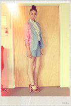 sky blue summer suit Dotti shorts - sky blue summer suit Dotti blazer