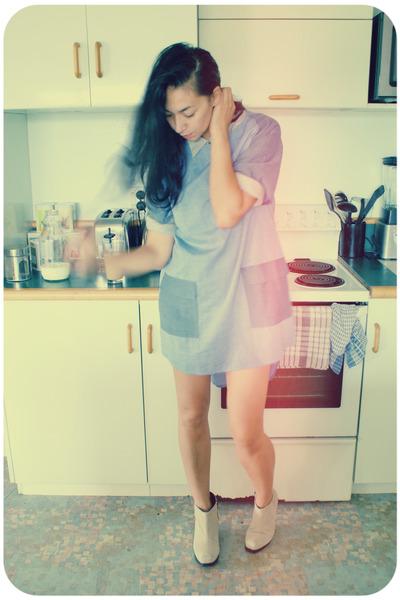 87b9ee400c4d blue chambray tunic Karen Walker dress - beige suede ankle Cheap Monday  boots
