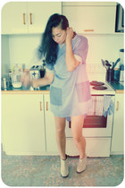 blue chambray tunic Karen Walker dress - beige suede ankle Cheap Monday boots