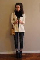 dark gray Zara jeans - beige H&M blazer - black H&M scarf - mustard Zara bag
