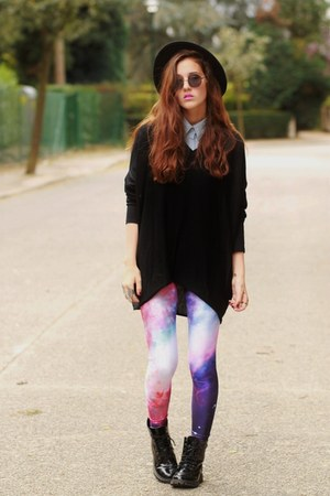 galaxy print chicwishcom leggings - denim Sheinsidecom shirt