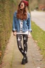 Denim-jacket-cross-print-sheinside-leggings