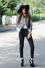 Concave-heel-shelikes-shoes-checkered-print-zara-blazer-clutch-chicwish-bag