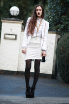 white choiescom skirt - white tweed EASTCLOTHESCOM jacket - bw PERSUNMALL bag