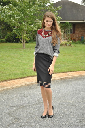 charcoal gray Pink Blush sweater - black Pink Blush skirt