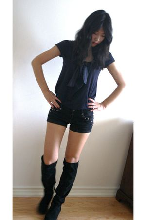 blue joe fresh style top - black Zara shorts