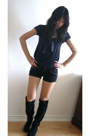 blue joe fresh style top - black Zara shorts