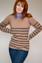 beige striped Long Tall Sally jumper - navy jeggings Guess jeans