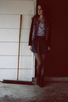 black faux leather Forever 21 boots - charcoal gray BCBGeneration jacket - white