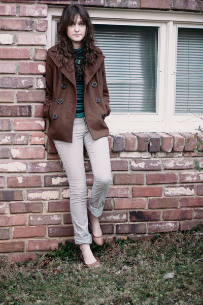 brown pea Old Navy coat - turquoise blue J Crew top