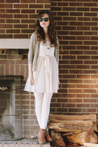 ivory ballerina American Eagle dress - camel heeled Bear Traps boots