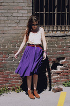 purple circle J Crew skirt - brown heeled Bear Traps boots