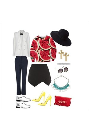 red bag - asos shoes - yellow asos shoes - Forever 21 hat - red blouse