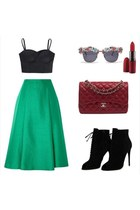 black Accessorize shoes - brick red Chanel bag - Accessorize sunglasses