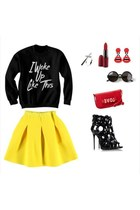 black Accessorize sweater - red bag - black Accessorize sunglasses