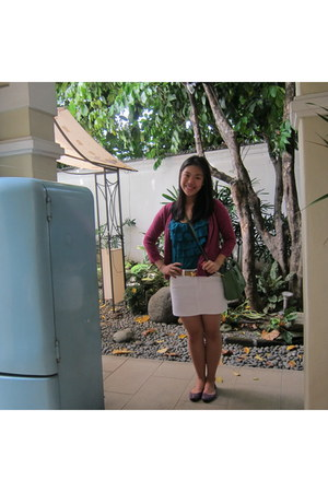 fuschia my grandmas sweater - Celine bag - blue green Greenhills top - Hermes be