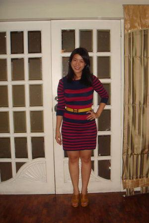 red Topshop dress - brown cheap bazaar shoes - gold Hermes belt