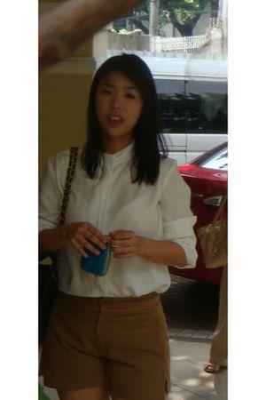black Chanel bag - brown Zara shorts - white Rockwell Bazaar blouse