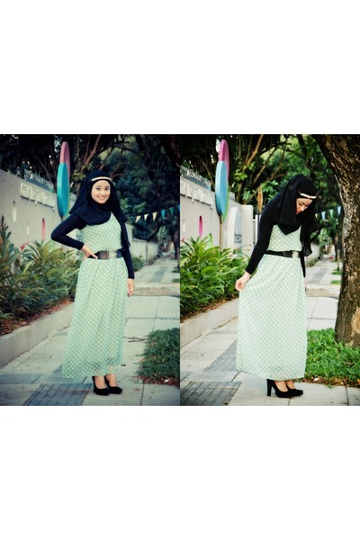 black no brand scarf - aquamarine thepoplook dress - black no brand belt