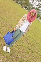eggshell blazer - white shoes - pink scarf - blue bag - teal pants