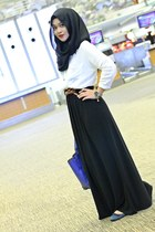 black dress - white shirt - blue ShopInmyshawls bag - brown belt - navy flats