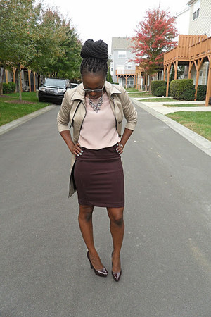 camel trench coat H&M jacket - crimson dress skirt H&M skirt