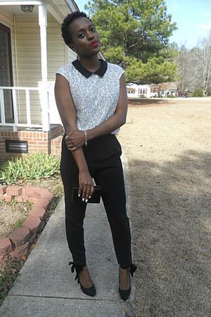 black high rise pants Express pants - white Express blouse