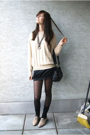 black H&M socks - black Bershka skirt - beige Zara shoes