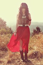 brick red Romwecom skirt - dark brown Durango boots - brown Fox House shirt