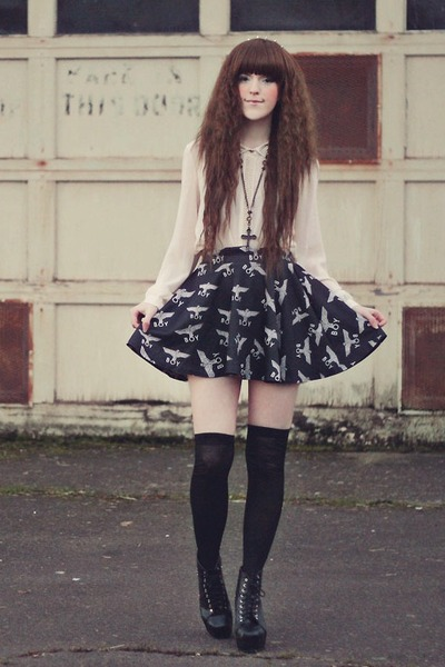 black romwe skirt - black Sammy dress boots - charcoal gray Angel Court necklace