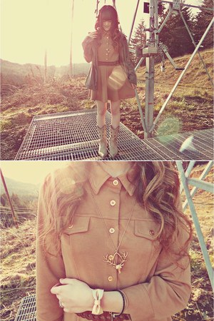 camel Bqueen dress - beige Durango boots - army green Macys jacket