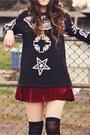 Crimson-oasap-skirt-black-sammy-dress-boots-black-sheinside-sweater
