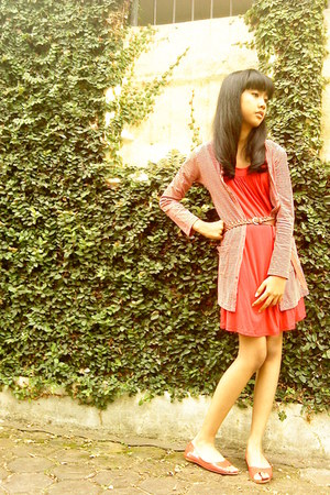 red nadiva flats - red Gap dress - red shape Logo cardigan