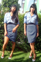 blue Betty skirt - black Moonbasa pumps - black Claires earrings